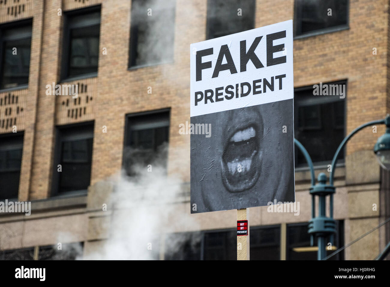 """New York, NY, USA. 21st January 2017. Women's March on NYC.  A protester carries a sign that reads """"fake president"""" Stock Photo"""