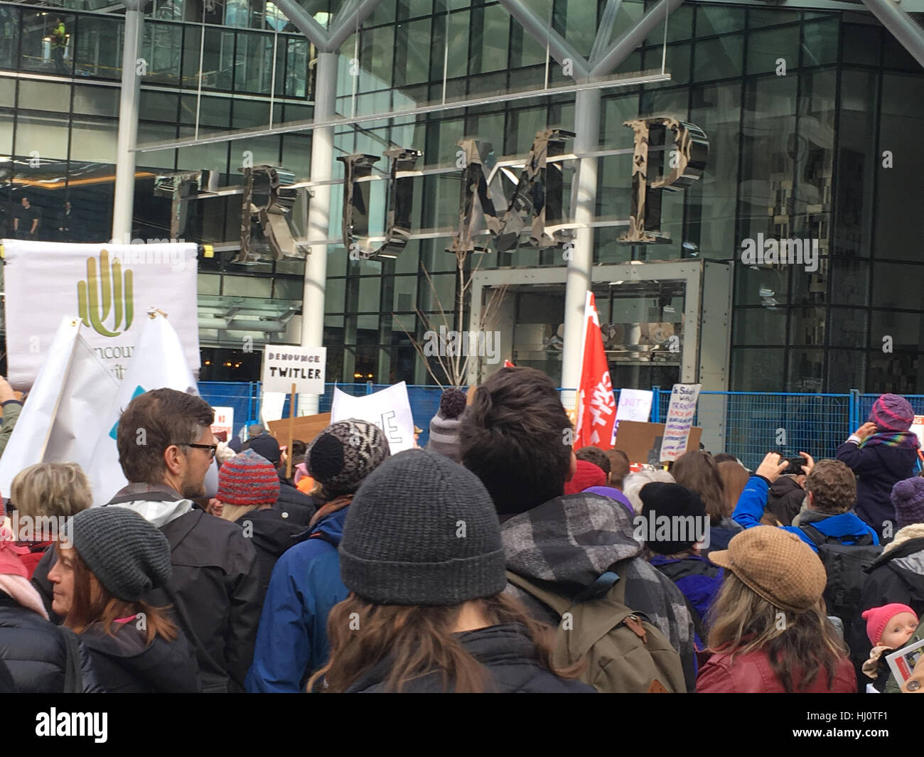 Vancouver, British Columbia, Canada. 21st January, 2017. Over 15,000 people attended the Women's March in Vancouver, - Stock Image