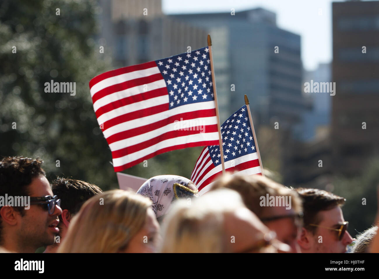 Austin, Texas, USA. January 21, 2017. Demonstrators participate in the Austin (Texas) Women's March in support - Stock Image