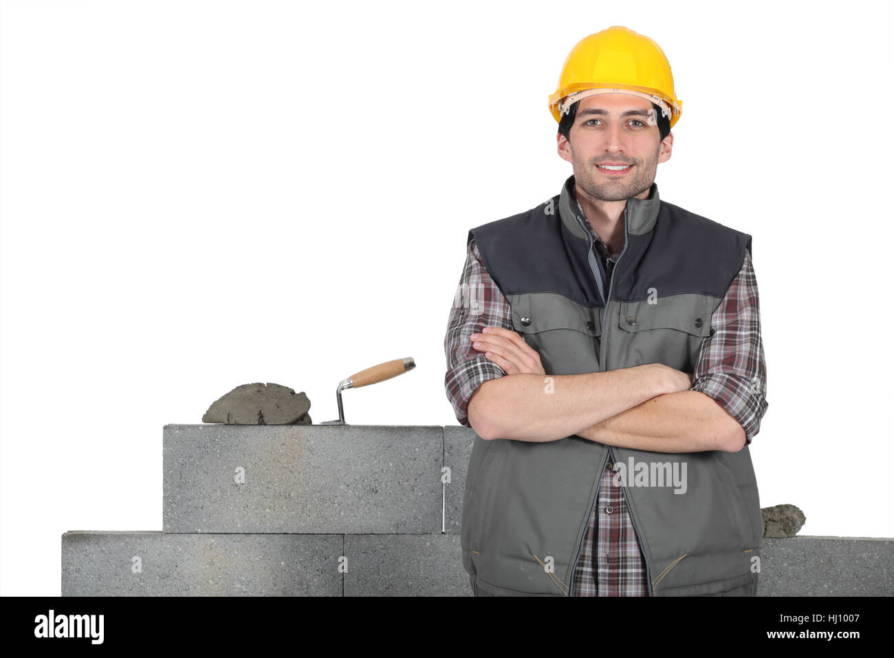 brick, cement, constructor, builder, building, construction, tool, craftsman, - Stock Image