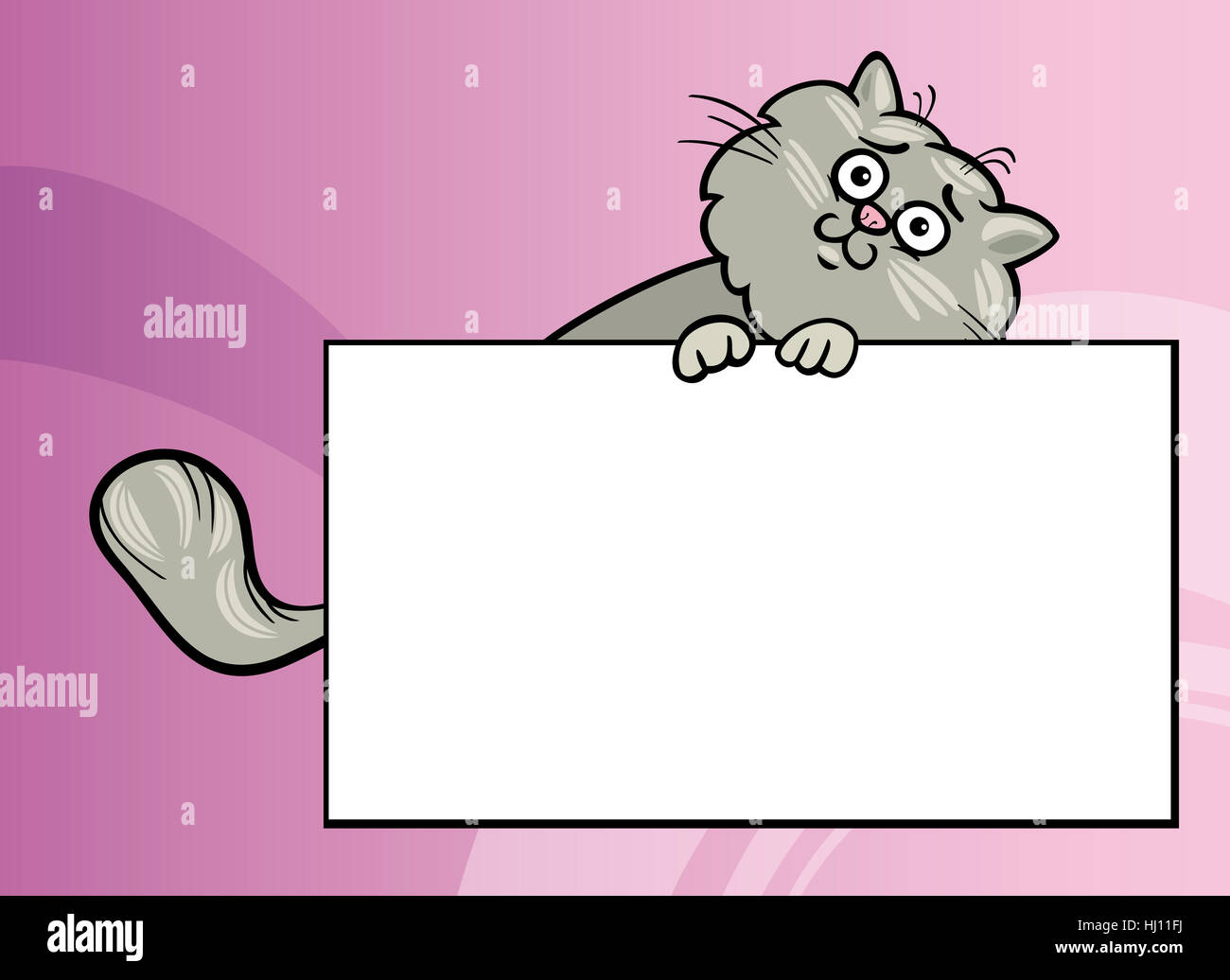 Cartoon Illustration of Funny Fluffy Cat with White Card or Board Greeting or Business Card Design - Stock Image