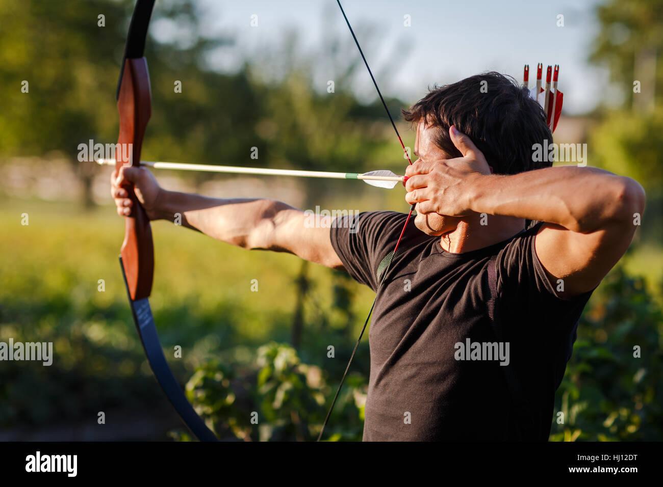 archer, bow, arrow, activity, shoot, danger, spare time