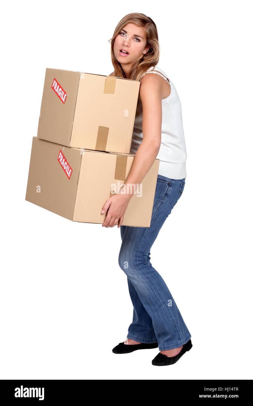 adult, box, boxes, annoyed, adults, balanced, average, blond, woman, tower, Stock Photo
