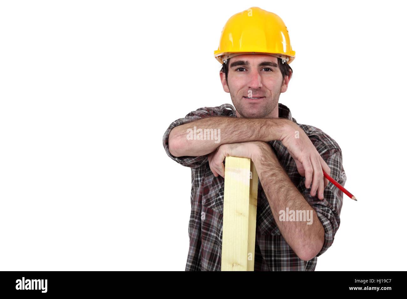 blue, build, beam, blank, european, caucasian, builder, arms, backdrop, Stock Photo