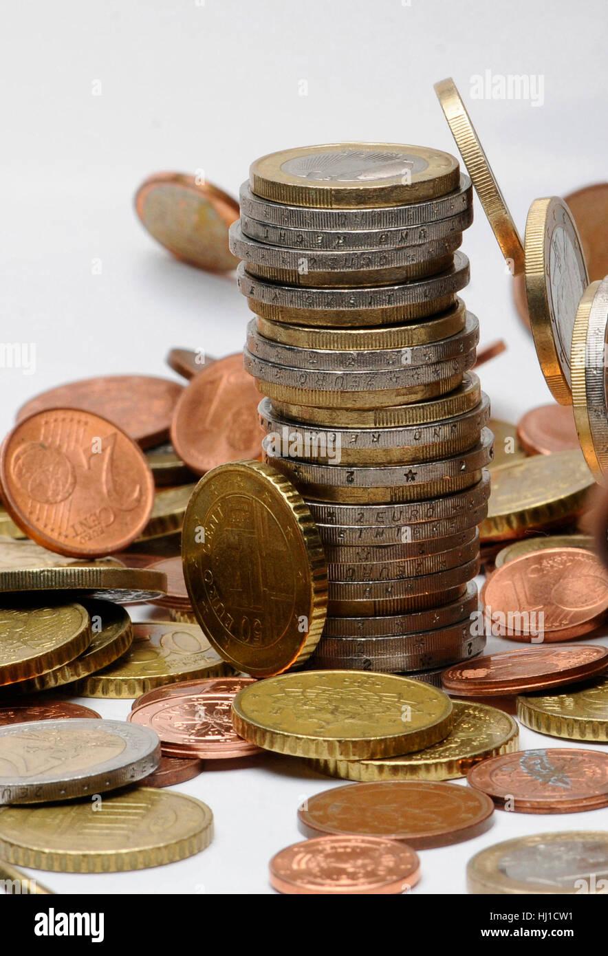 geldstabel,münze,münzen,euromünzen,euro,geld,bargeld,zahlungsmittel,finanzen Stock Photo