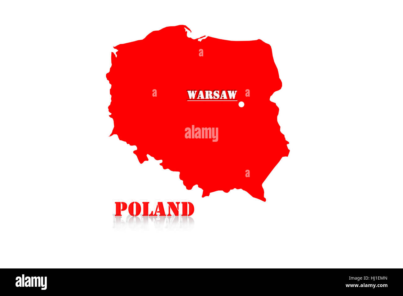 Red silhouette of a map of Poland with a designation of capital - Stock Image