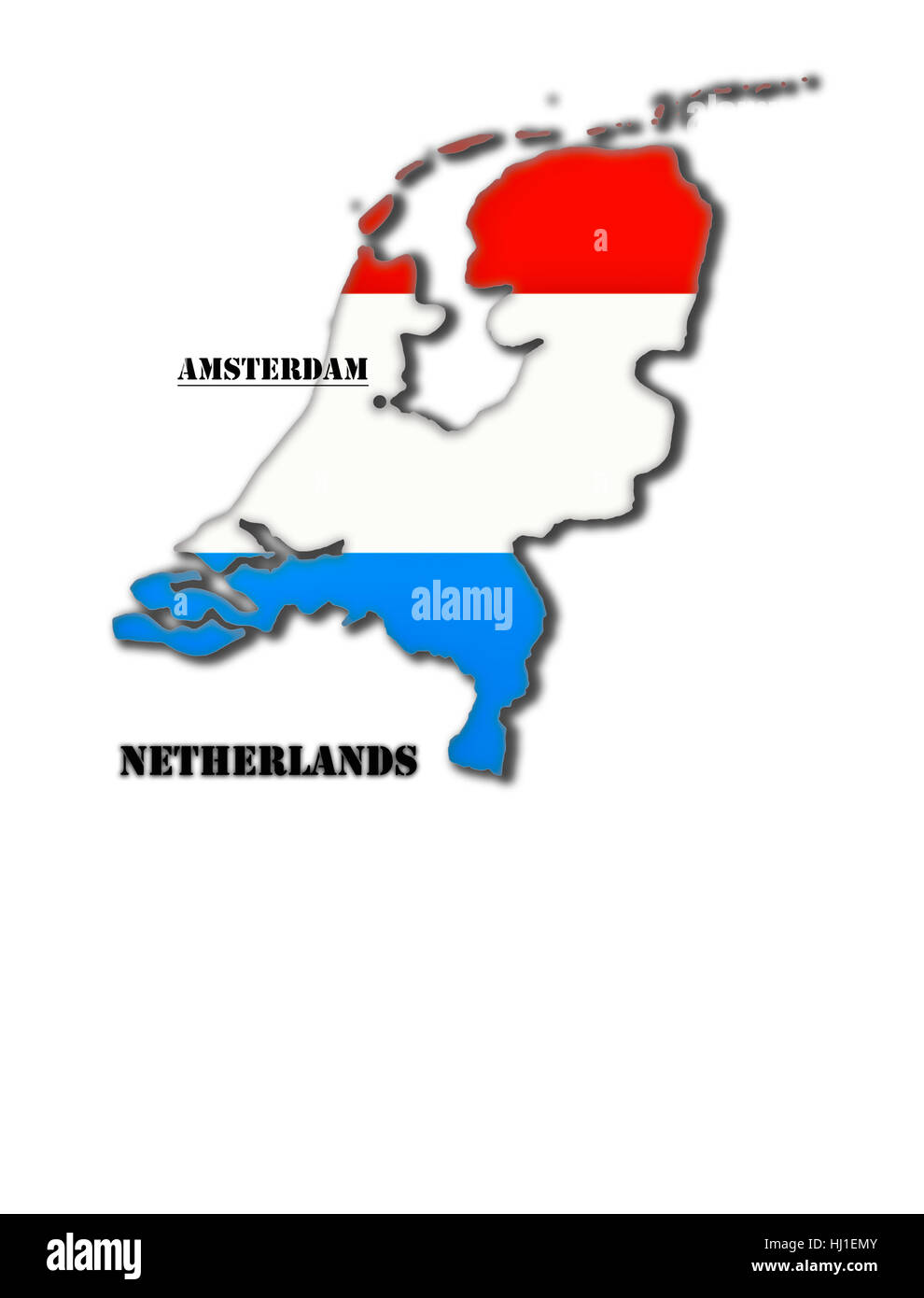 Coloured silhouette of a map of Holland with capital - Stock Image