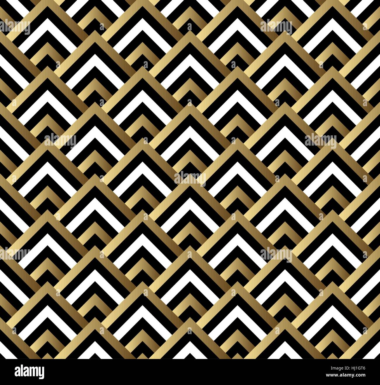 Seamless black and gold square art deco pattern vector Stock Vector ...