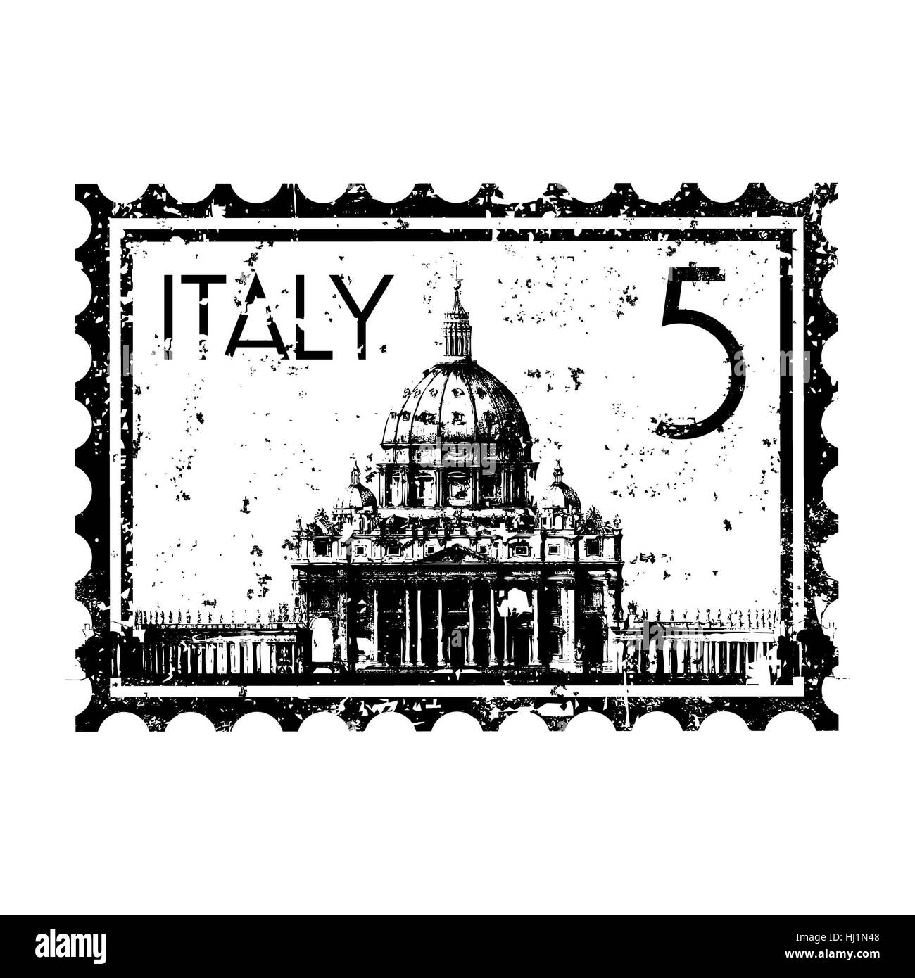 Rome Stamp Italian Black And White Stock Photos Images
