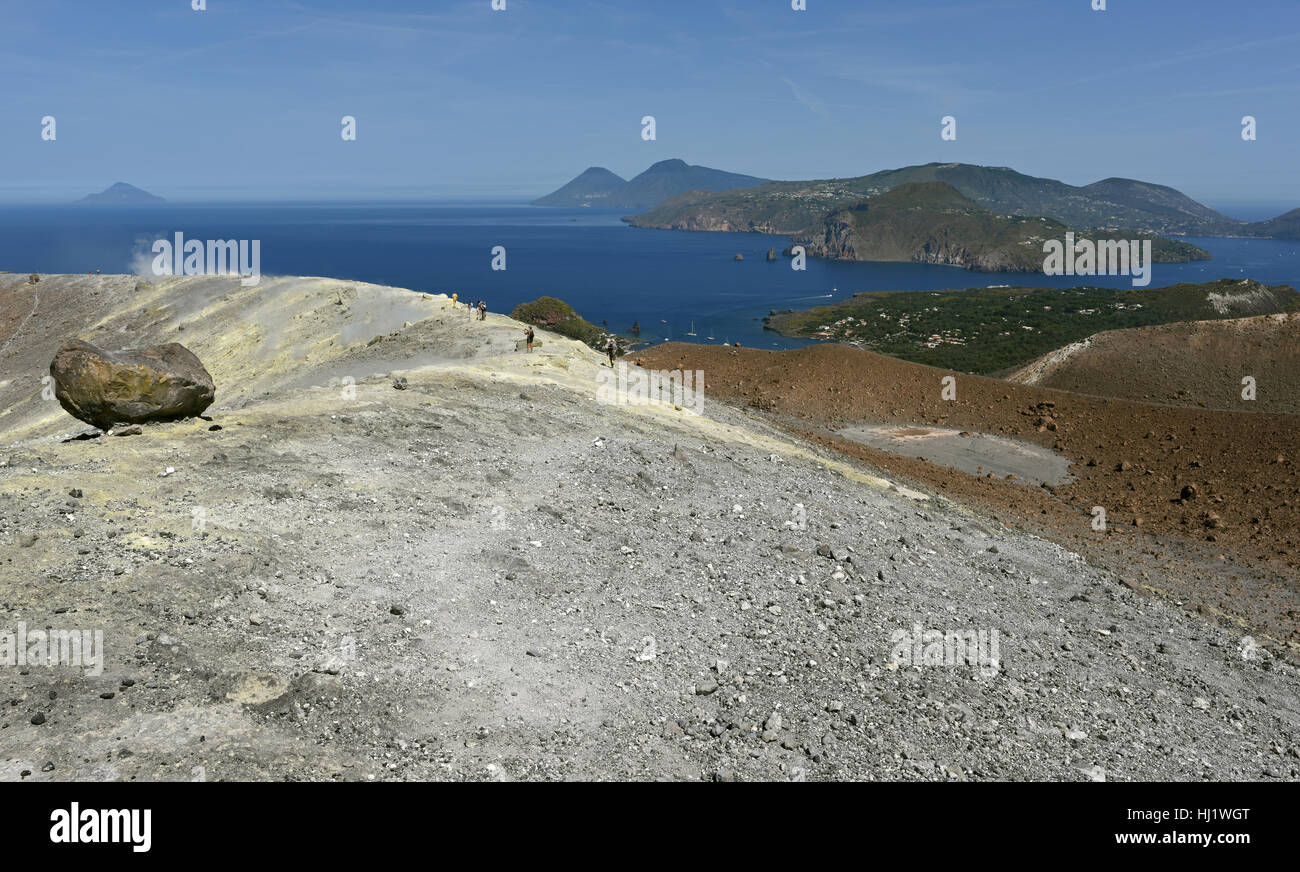 View from the Gran Cratere on Vulcano of several of the other Aeolian Islands, including Lipari, Salina and Filicudi Stock Photo