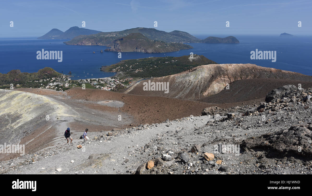 View from the Gran Cratere on Vulcano of several of the other Aeolian Islands, including Lipari, Salina and Panarea Stock Photo