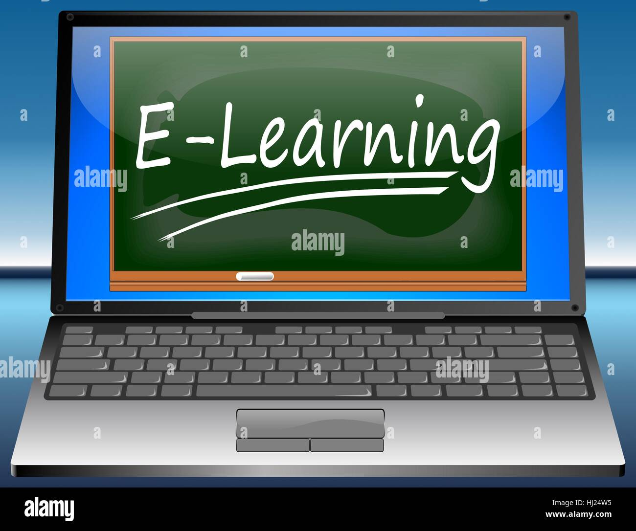 laptop with e-learning Stock Photo