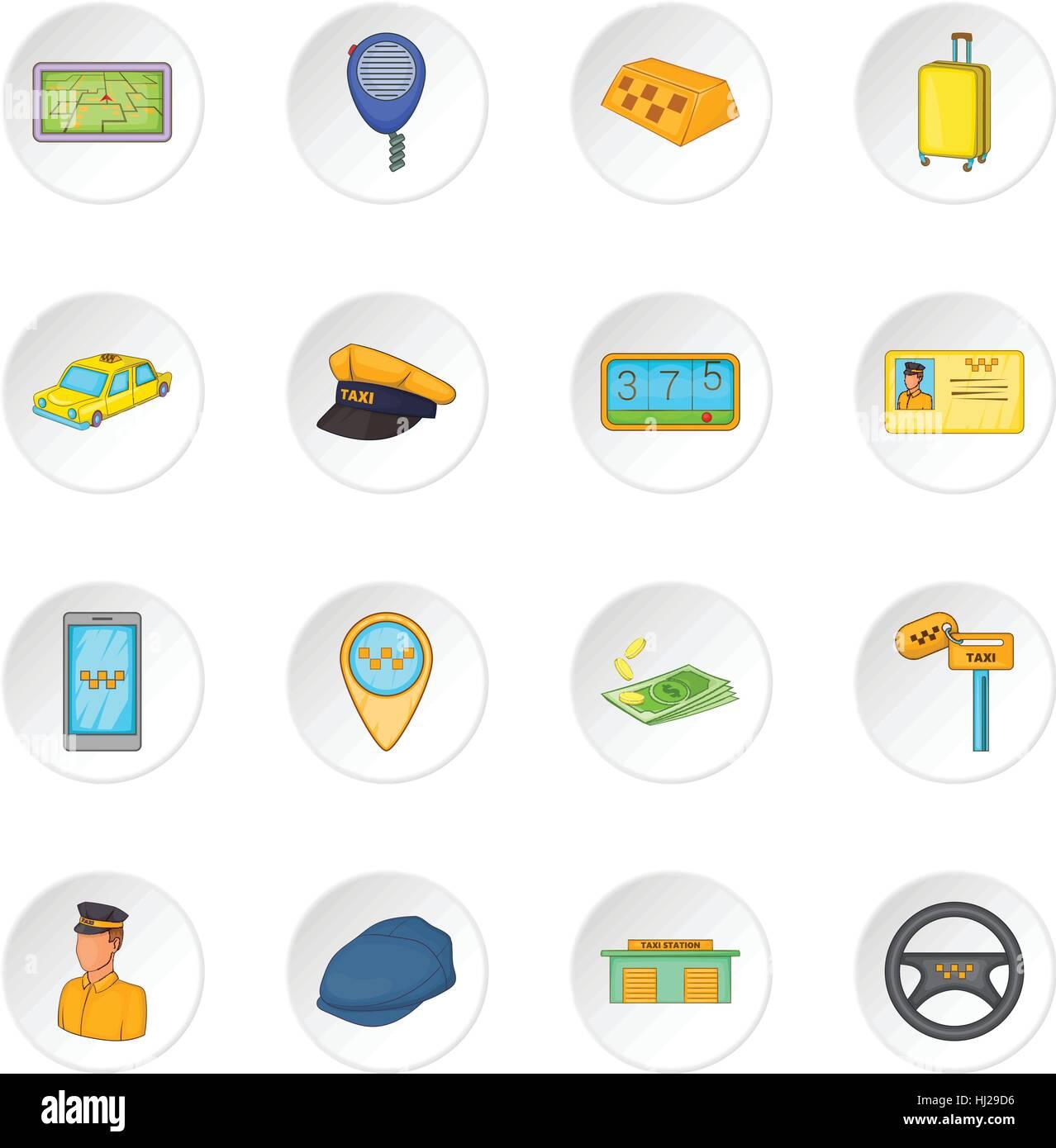 Cartoon Taxi Driver Isolated Illustration Stock Photos