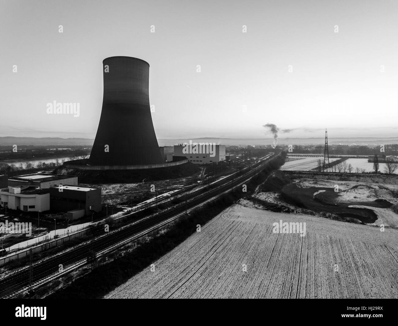 nuclear power plant sunset sunrise dawn black and white Radiation of soil environment - Stock Image