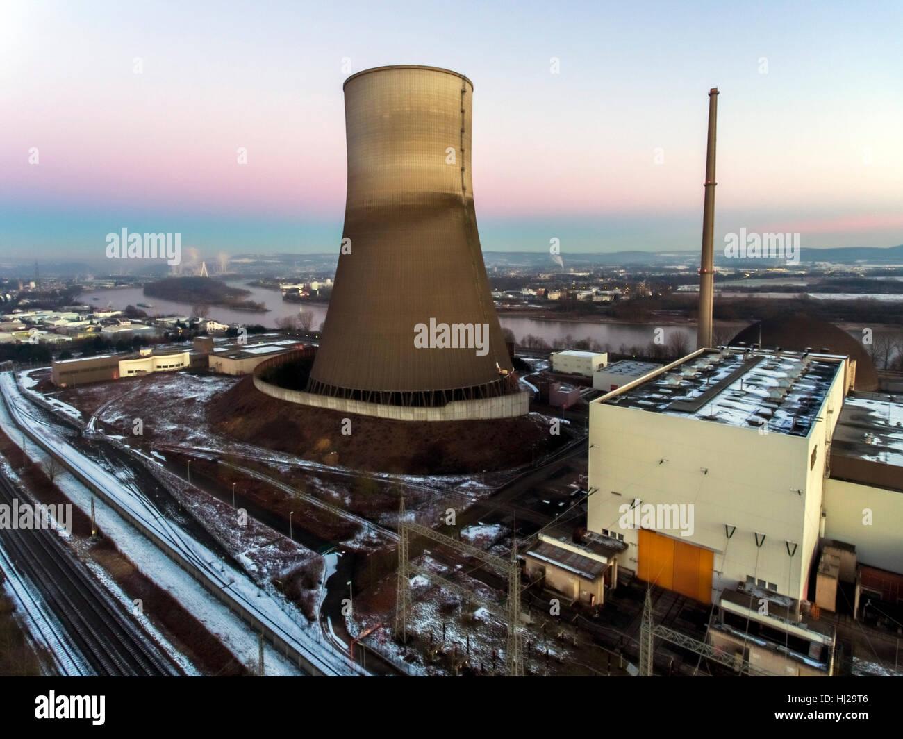 nuclear power plant sunset sunrise dawn Radiation of soil environment - Stock Image