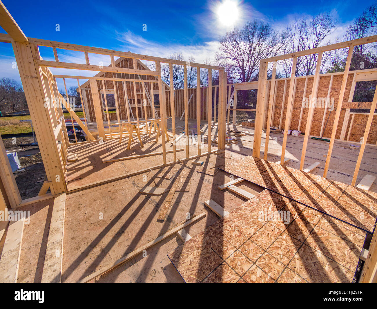 house, building, build, wood, new, frame, carpentry ...