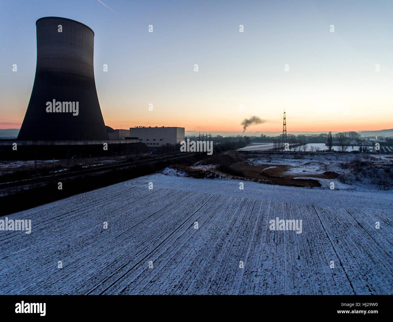 nuclear power plant sunset sunrise dawn Radiation of soil environment Stock Photo