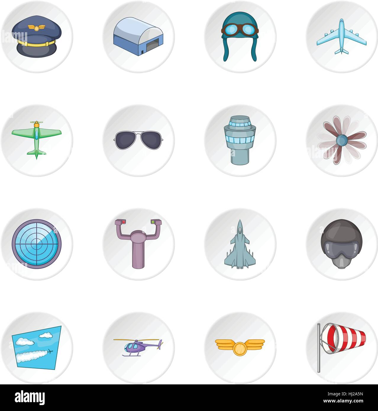 Aviation icons set Stock Vector