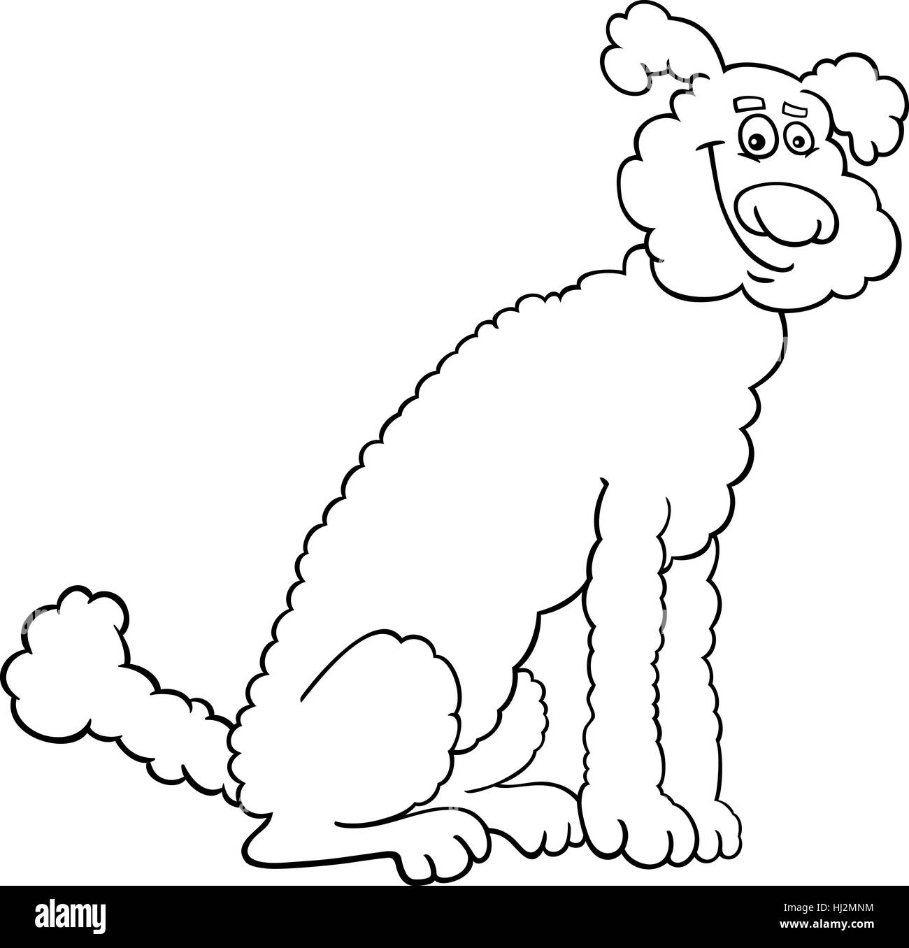 Black And White Cartoon Illustration Of Cute Poodle Dog For Coloring Book Or Page