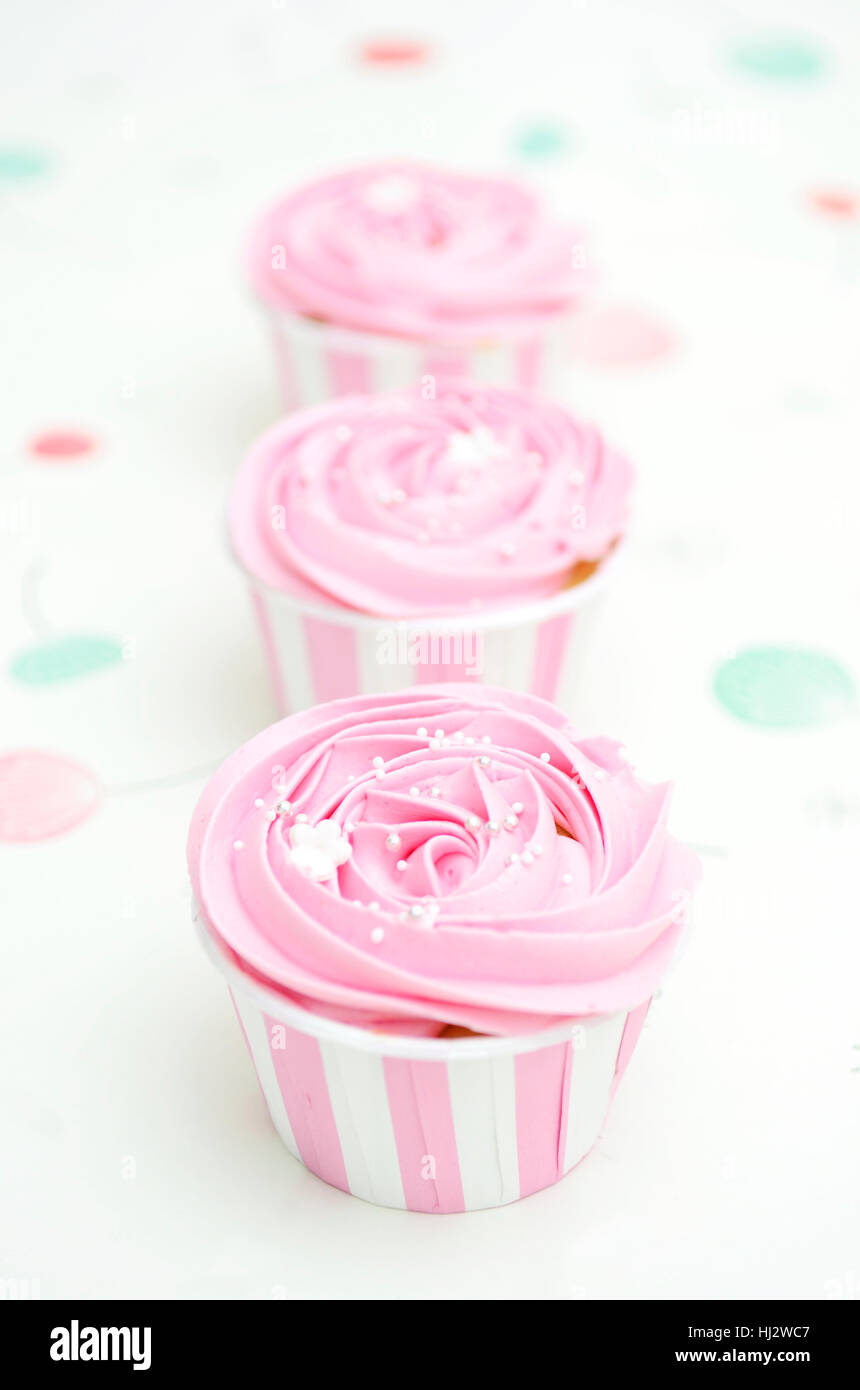 Cupcakes create with color pink - Stock Image