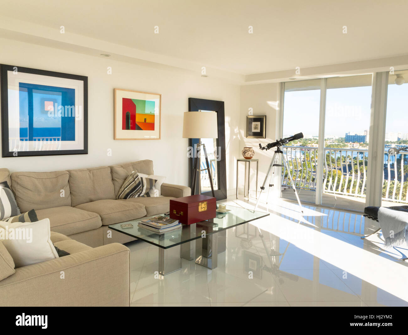 Showcase Luxury Condo Living Room and Balcony, Fort Lauderdale, FL ...