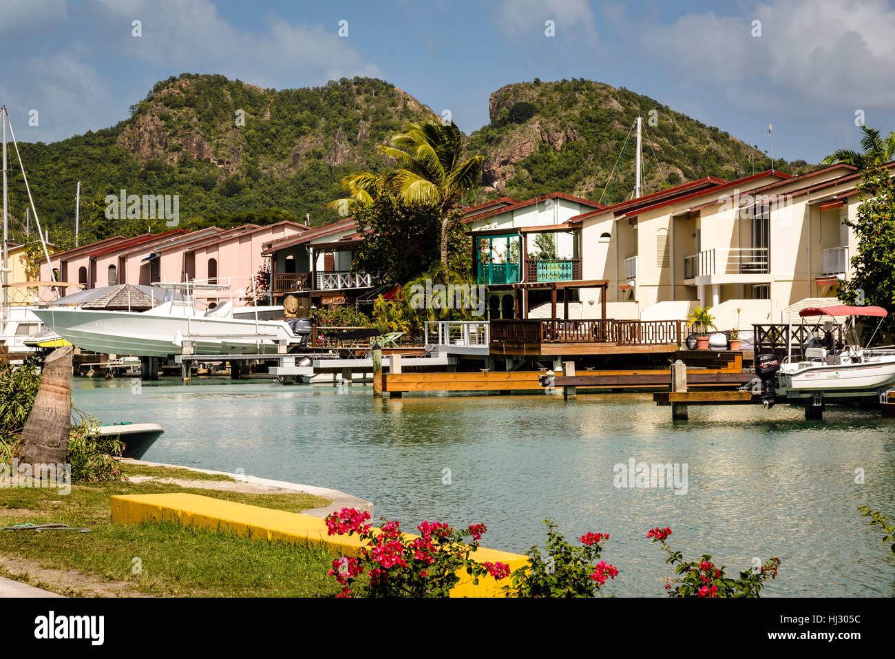 Villas, Jolly Harbour Marina, Antigua - Stock Image