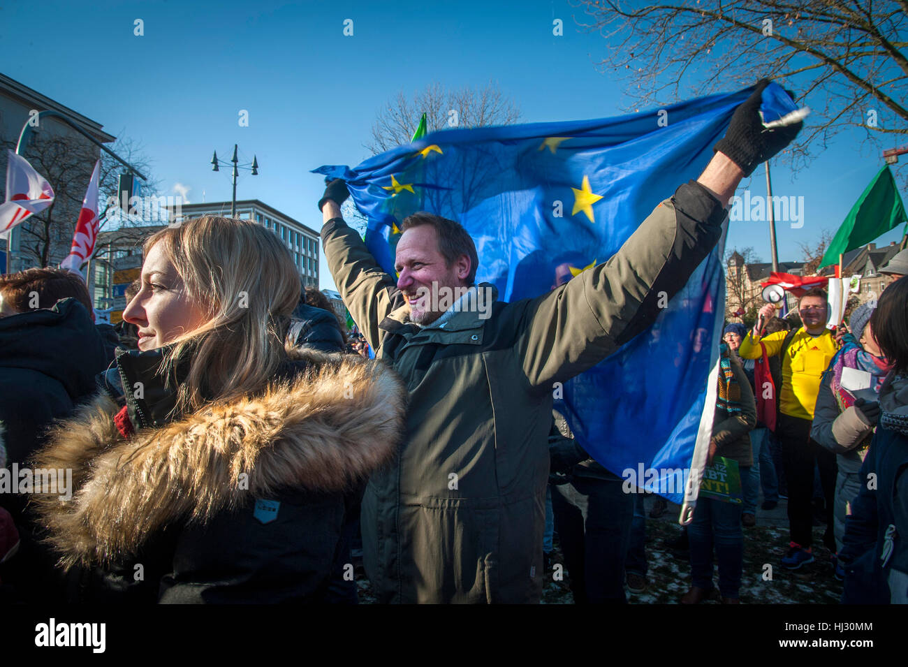 Some 3 thousand demonstrators gathered in Koblenz, Germany to protest against the gathering of Europe's far - Stock Image