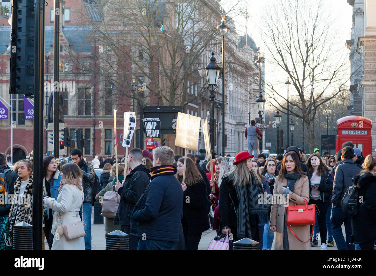 Demonstrators in London on January 21st, protesting against the inauguration  of Donald Trump as US President. Stock Photo