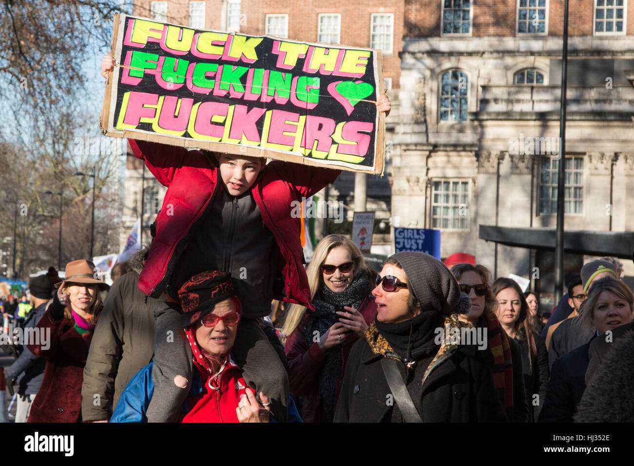 London, UK. 21 January 2017. Protesters take part in the Women's March, which is an anti-Trump protest. More - Stock Image