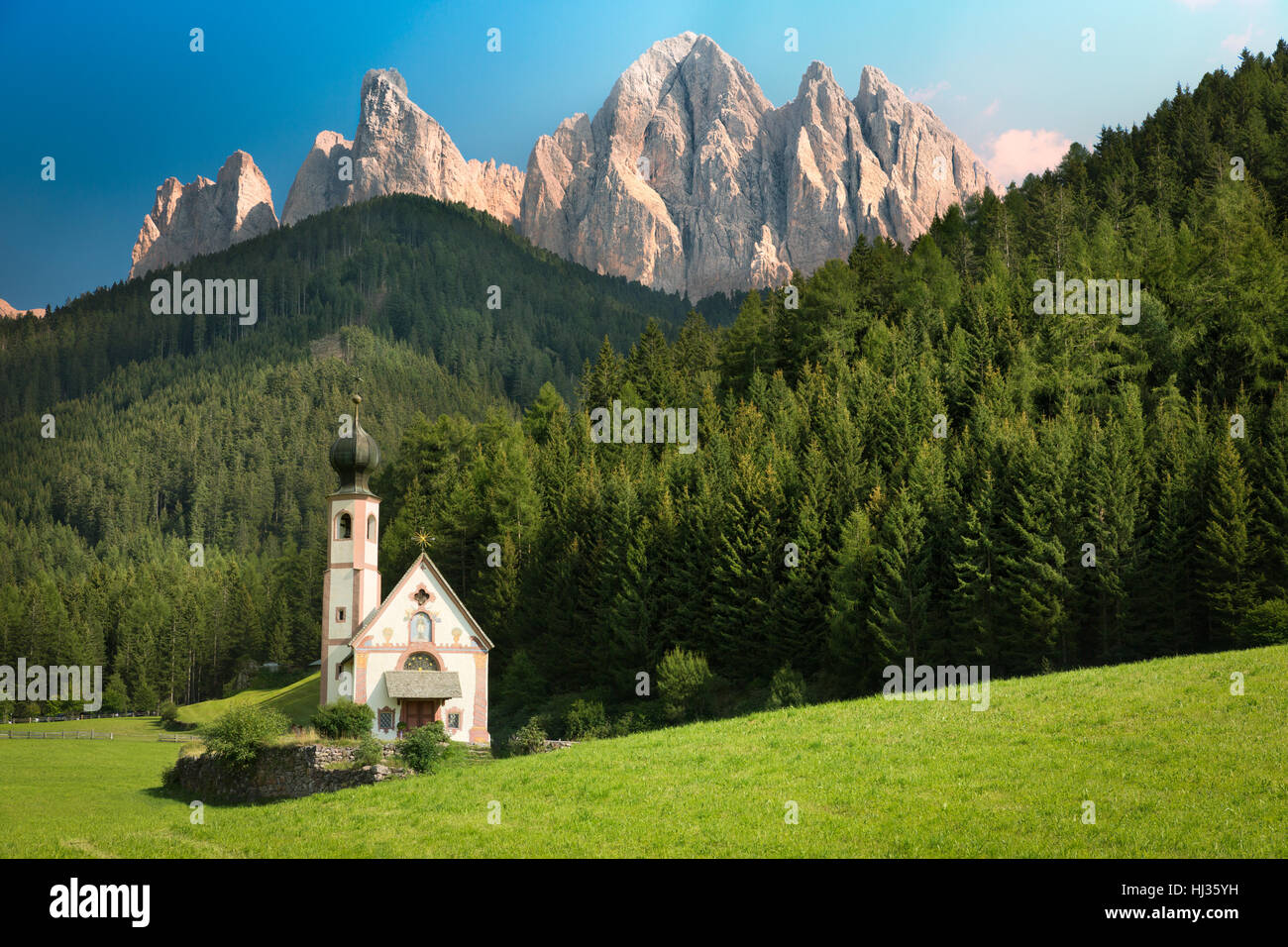 St. Johann in Val di Funes, South Tyrol, Italy Stock Photo