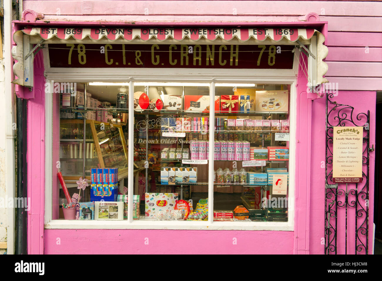 Cranch's Sweetshop,Salcombe,the oldest in Devonshire,with owners Angela Carter(glasses),Suzanne Harris and employee - Stock Image