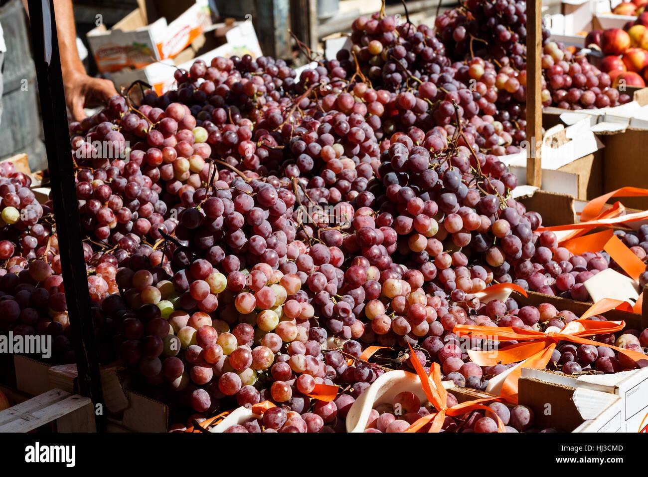Harvested fresh red grapes, Ballaro market, Palermo, Sicily, Italy - Stock Image