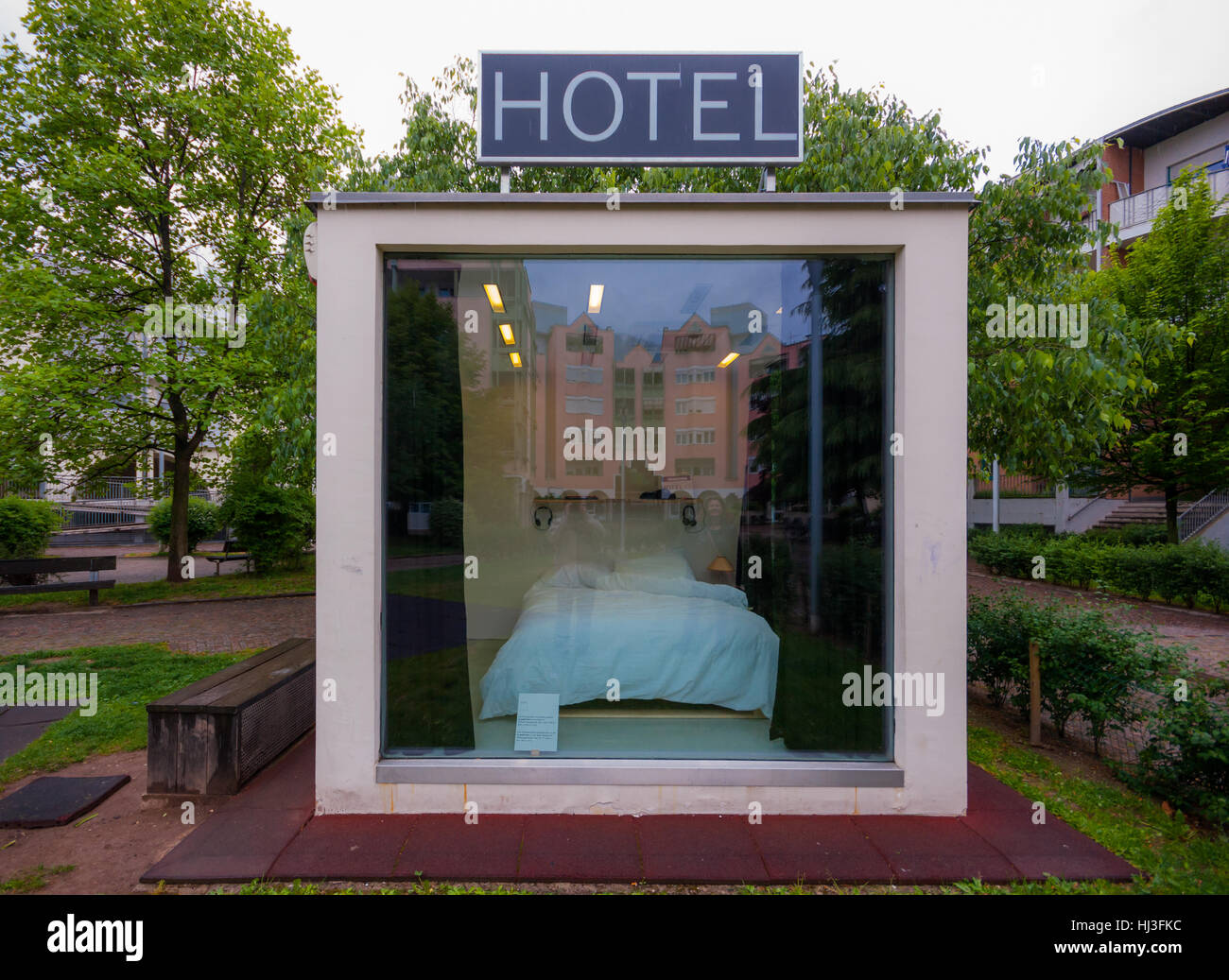 The Hotel Cubo, Bozen, Italy, a temporary art installation (2014) people could rent to sleep into, at the time it - Stock Image