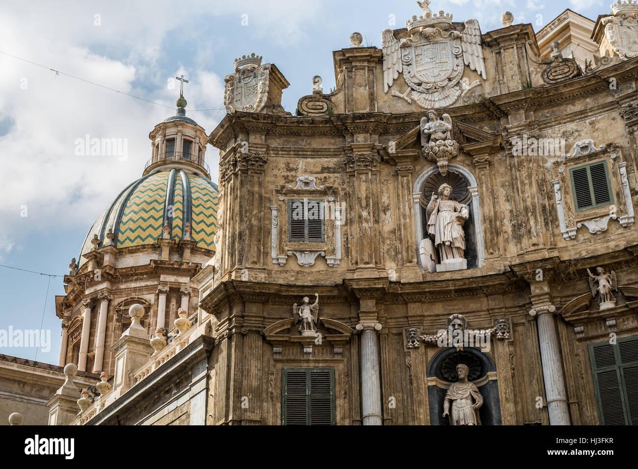 Quattro Canti, (Piazza Vigliena), Palermo, Sicily, Stock Photo
