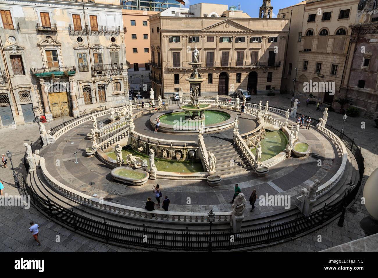 Italy, Sicily, Palermo, Piazza Pretoria Stock Photo