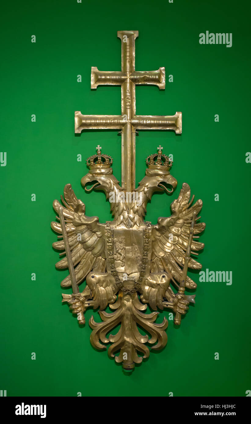 Coat of arms of the Austrian Empire from the bell tower of the Stephansdom (St Stephen's Cathedral) on display - Stock Image