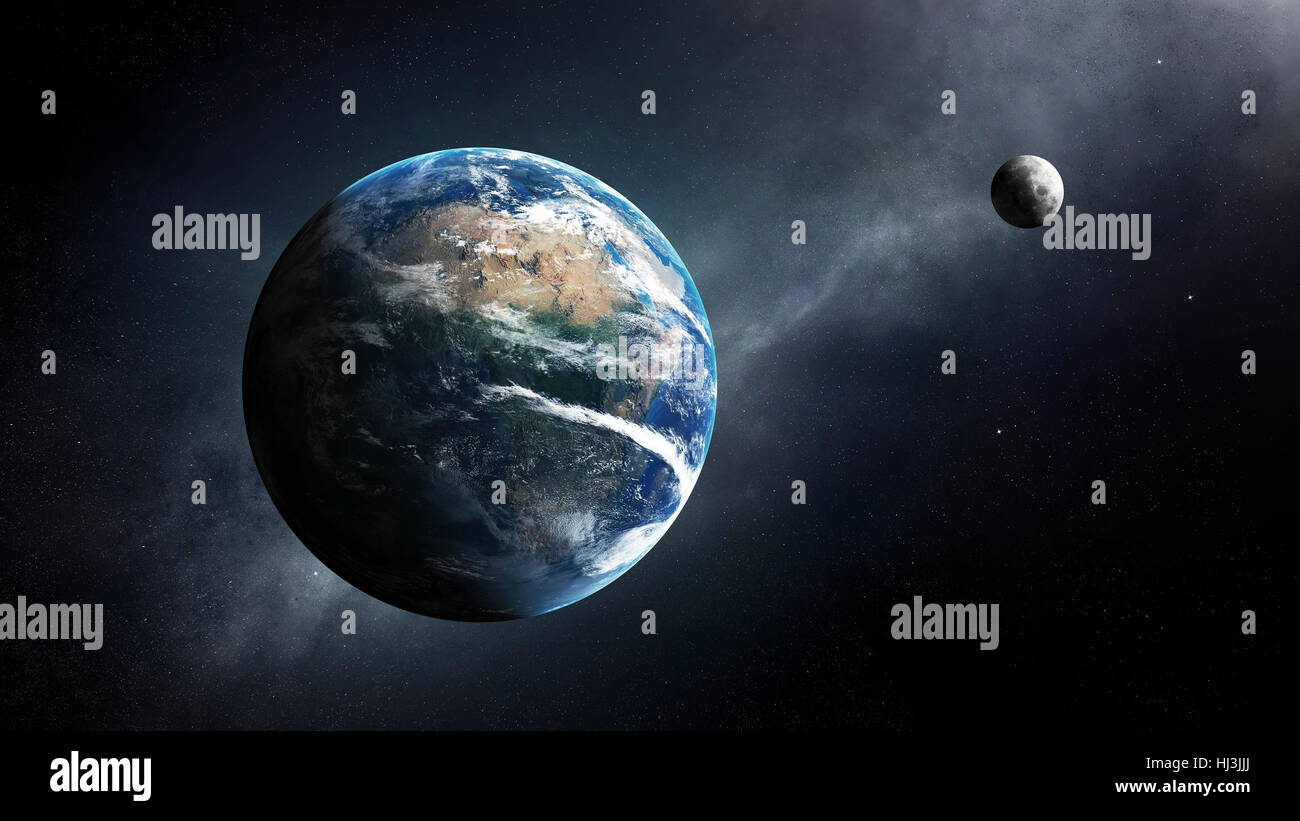 Earth and moon in space with milky-way ( Elements of this 3D render furnished by NASA - Texture map from http://visibleearth.nasa.gov - Stock Image