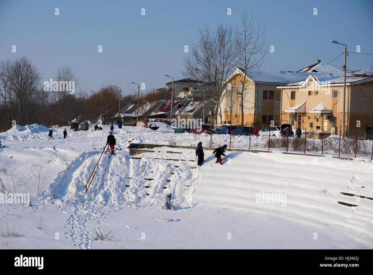 Winter scenes with happy kids and amazing pure nature beauty of snow