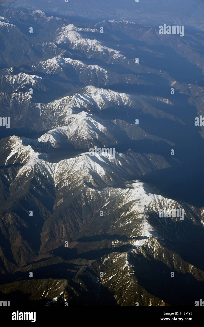 Snow capped mountains, Japan - Stock Image