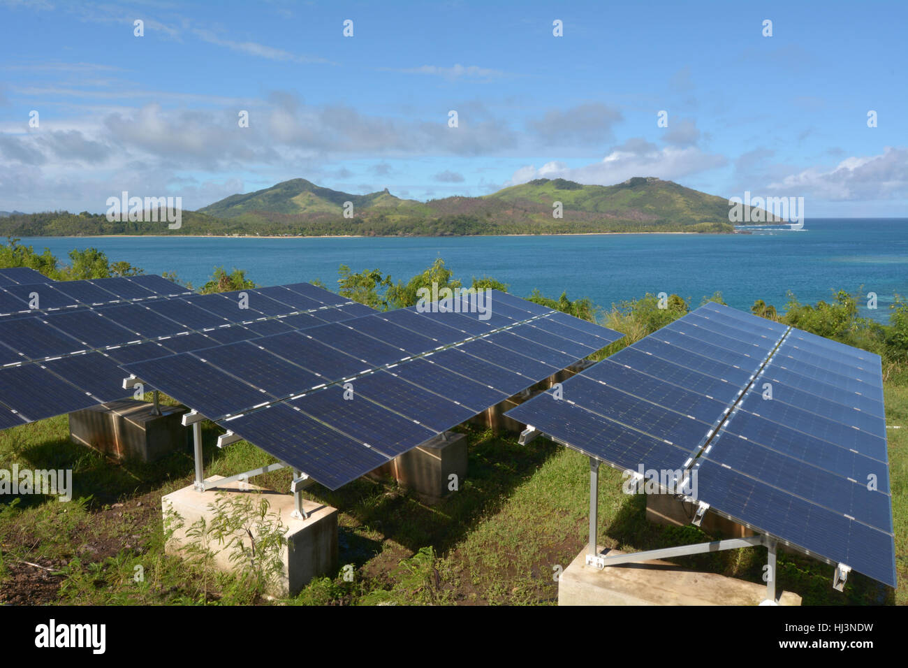 Solar PV modules on remote Island in Fiji. Fiji Sustainable Energy goals include sourcing more than 80% of the countrys - Stock Image