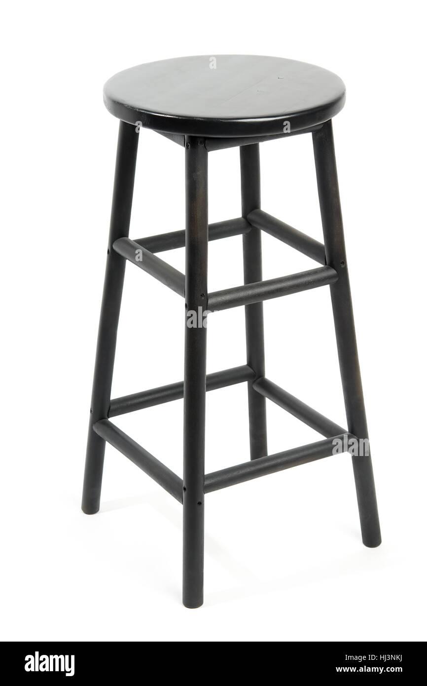 Black wooden bar stool isolated on white background - Stock Image