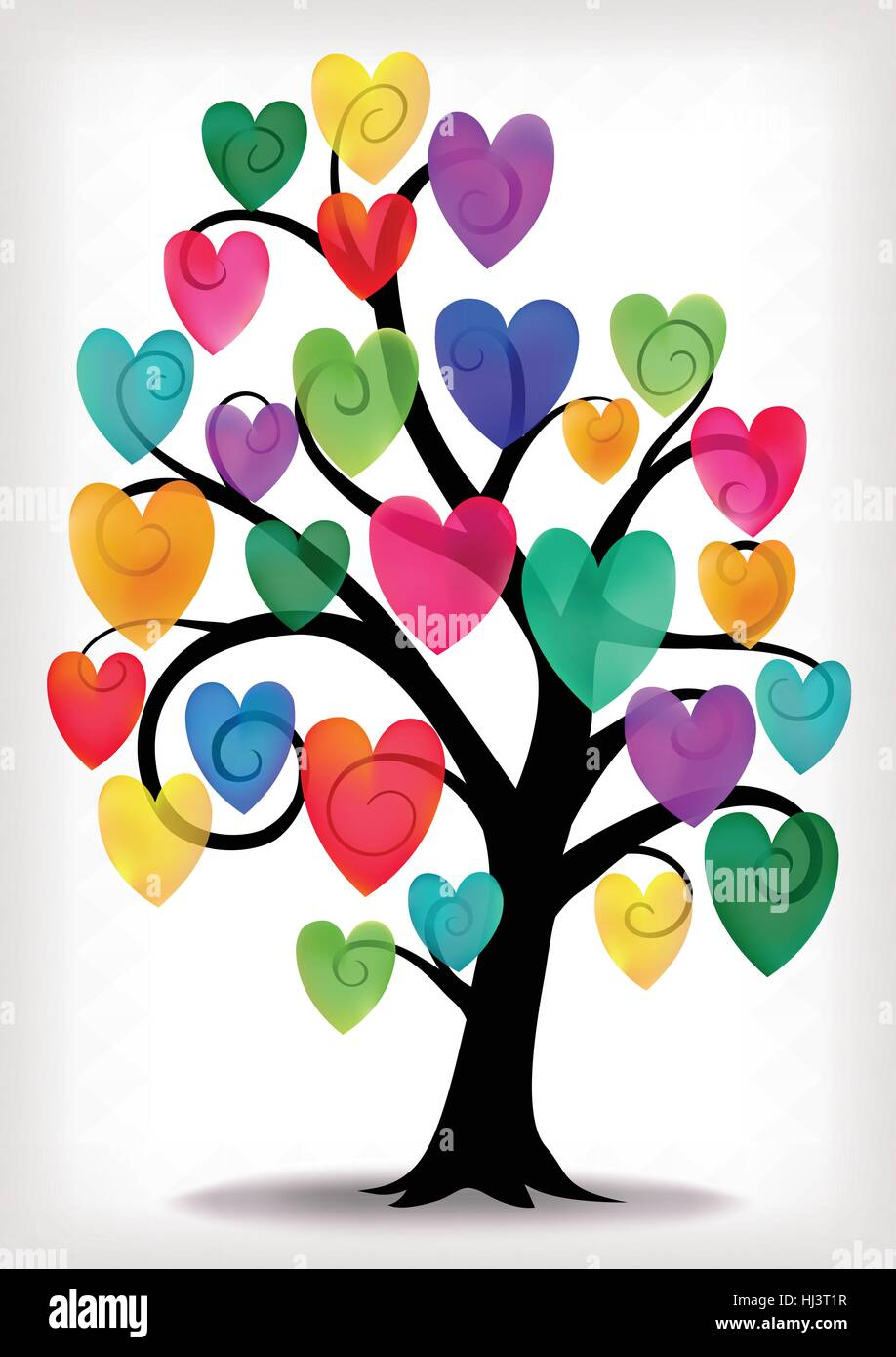 Swirly tree illustration with multi colored hearts. - Stock Vector