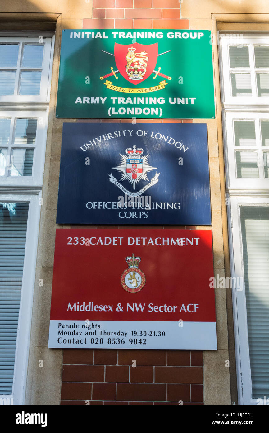 Army training and recruitment signs in London, England, UK - Stock Image