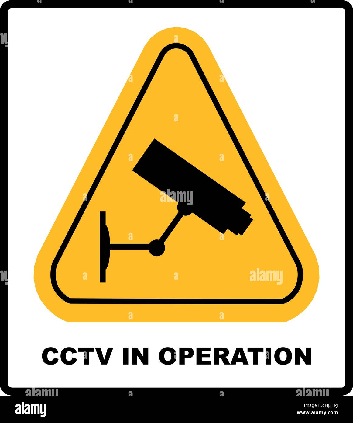 Cctv In Operation Sign Security Camera In Yellow Triangle Isolated