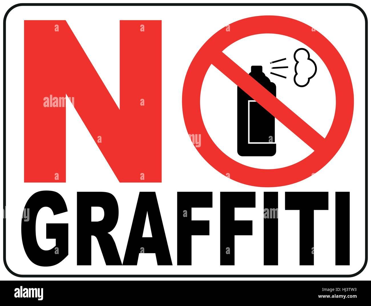 No graffiti symbol No aerosol spray sign, No alcohol sign vector illustration, red prohibition circle, for wall, - Stock Vector