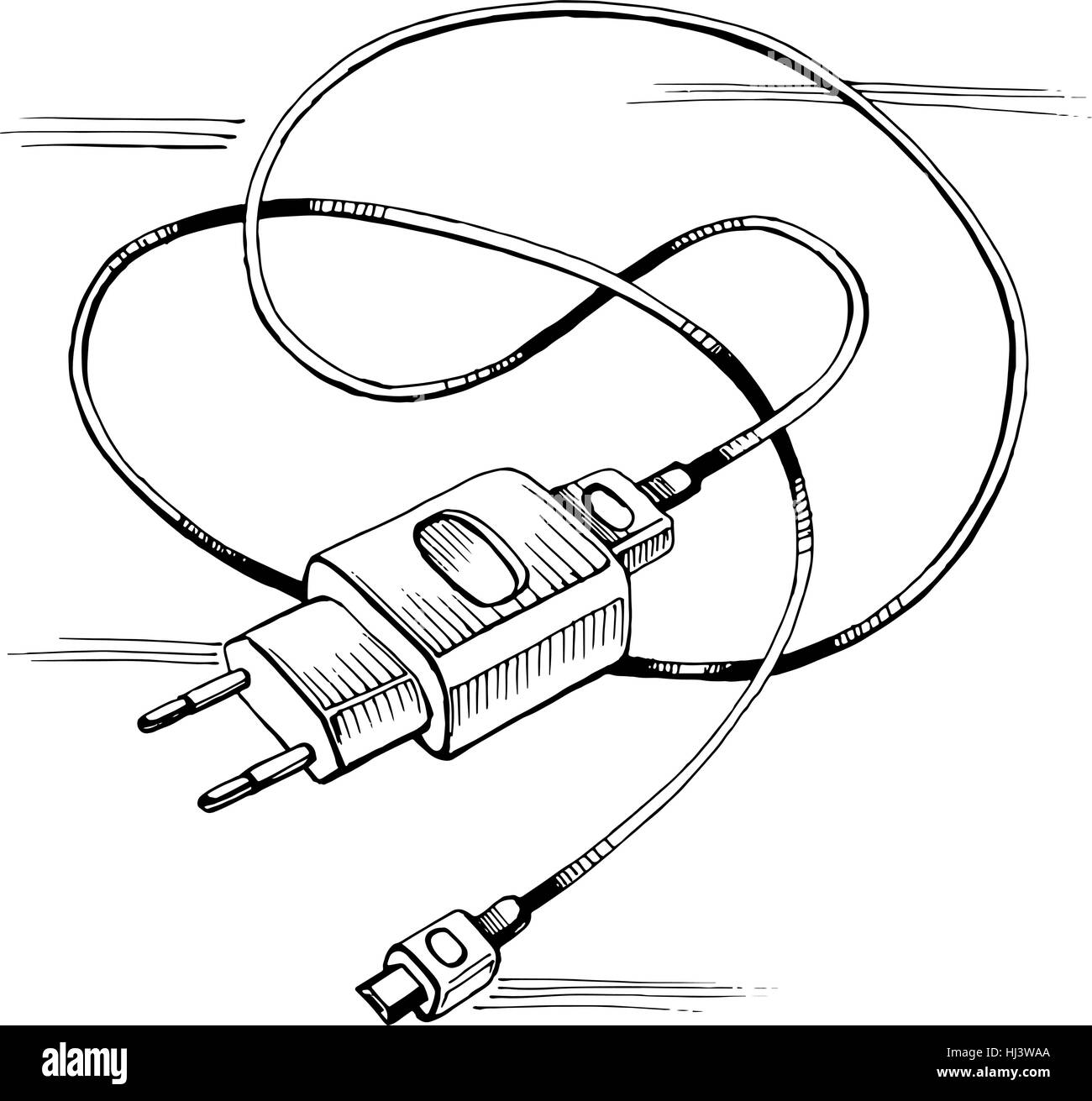 Vector Sketch Charger Usb Device Cable Stock Art Phone Wiring Diagram