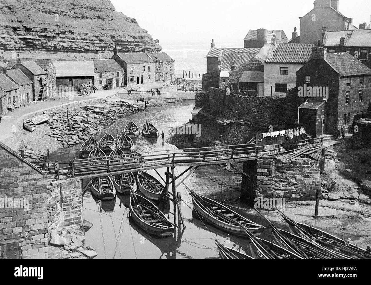 Staithes Harbour north east coast of Yorkshire Uk 1896 - Stock Image