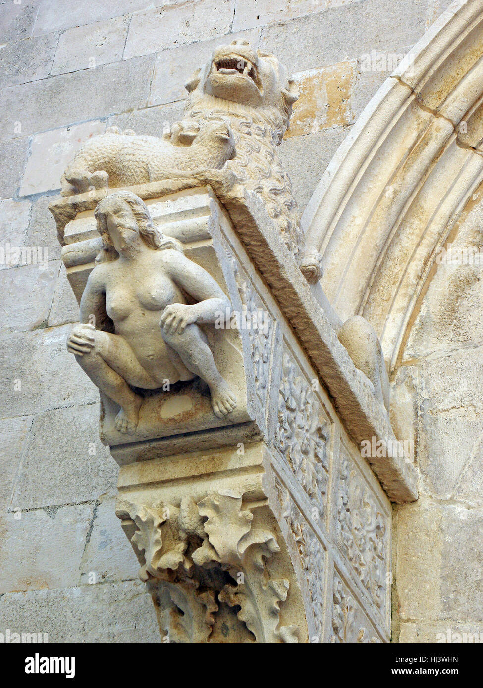 Korcula ancient artwork and craftmanship details,Croatia,Europe,5 - Stock Image
