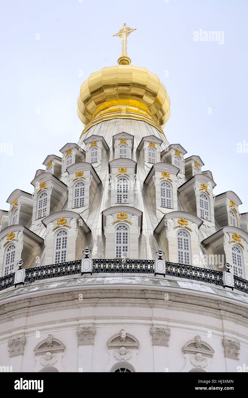 Renovated Cupola of Resurrection Cathedral in New Jerusalem (Istra). Moscow Region, Russia. Stock Photo