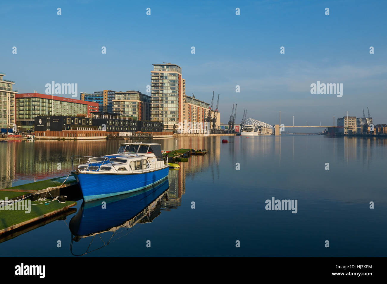 Royal Victoria Dock London Docklands in  January with blue sky - Stock Image